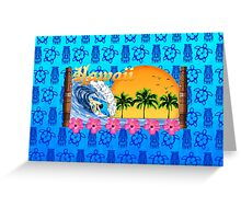 Hawaiian Surfing Blue Tiki Greeting Card