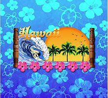 Hawaiian Surfing Blue Honu by BailoutIsland