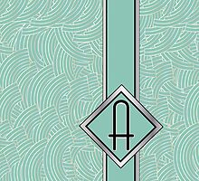 1920s Blue Deco Swing with Monogram letter A by CecelyBloom