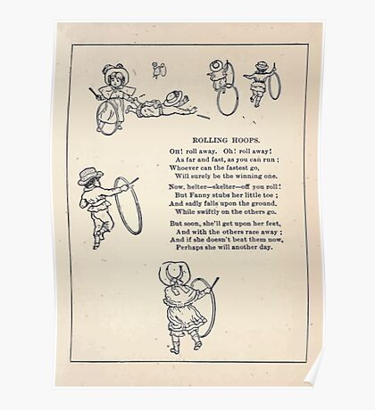 Miniature Under the Window Pictures & Rhymes for Children Kate Greenaway 1880 0041 Rolling Hoops Poster