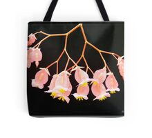 Pink Flowers on Black Background Tote Bag