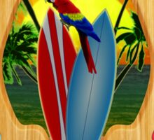 Tropica Parrot And Surfboards Sticker