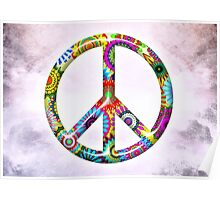 Cool Retro Flowers Peace Sign - T-Shirt and Stickers Poster