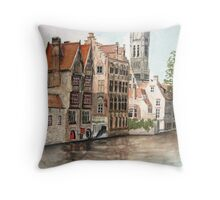 """Venice of the North"" - Bruges, Belgium Throw Pillow"