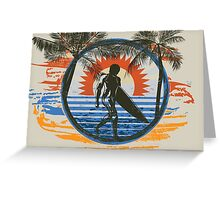 Surfing - Summer Sun and Palm Trees and Paint Brushes Greeting Card