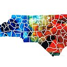 North Carolina - Colorful Wall Map by Sharon Cummings by Sharon Cummings