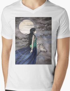 """Night of the Wolf"" Gothic Fantasy Art by Molly Harrison Mens V-Neck T-Shirt"