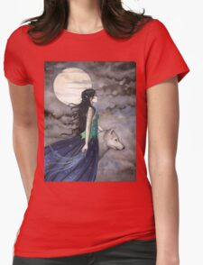 """Night of the Wolf"" Gothic Fantasy Art by Molly Harrison Womens Fitted T-Shirt"