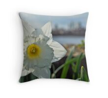 Docklands and a Daffodil Throw Pillow