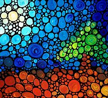 A Day To Remember - Colorful Mosaic Landscape By Sharon Cummings by Sharon Cummings