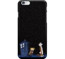 Calvin and Hobbes meets Police Box Stary Night iPhone Case/Skin