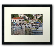 Brela harbour boats, Croatia Framed Print