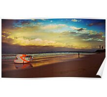 Kite Surfer at sunset Poster