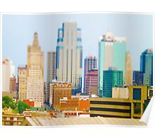 Downtown Kansas City Skyscrapers Tilt Shift Poster