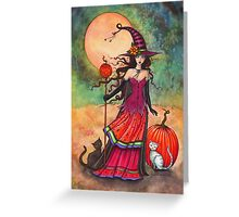 October Moon Witch and Cat Fantasy Art Illustration Greeting Card