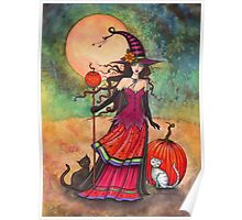 October Moon Witch and Cat Fantasy Art Illustration Poster