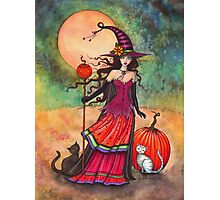 October Moon Witch and Cat Fantasy Art Illustration Photographic Print