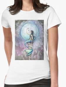 Magic Mermaid Watercolor Fantasy Art Illustration Womens Fitted T-Shirt