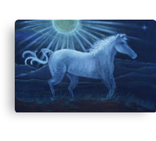 Harvest Moon White Horse Canvas Print