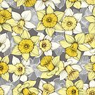 Daffodil Daze - yellow & grey daffodil illustration pattern by micklyn