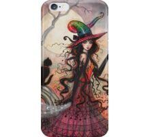 October Flame Witch Cat Halloween Fantasy Art iPhone Case/Skin