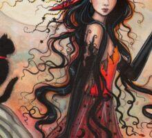 October Flame Witch Cat Halloween Fantasy Art Sticker