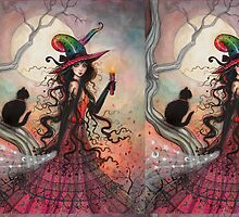 October Flame Witch Cat Halloween Fantasy Art by Molly  Harrison
