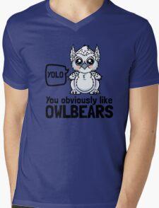 YOLO - You Obviously Love Owlbears (Wee Beasties - Snowy Wee Owlbear) Mens V-Neck T-Shirt