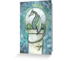 Green Dragon Watercolor Fantasy Art Illustration  Greeting Card