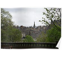 Edinburgh old town from Princes Street Gardens Poster