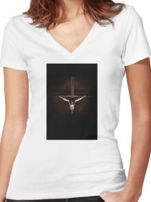 looking down the cross Women's Fitted V-Neck T-Shirt