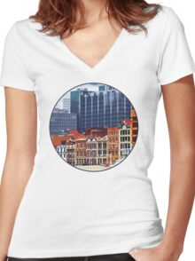 Pittsburgh PA Skyline Closeup Women's Fitted V-Neck T-Shirt