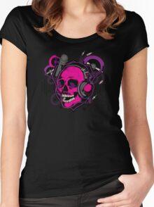 Karaoke Skull! Women's Fitted Scoop T-Shirt