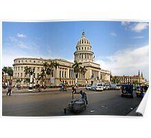 Capitolio street scene, Havana, Cuba Poster
