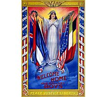 Welcome home our gallant boys Poster 1918 Restored Photographic Print