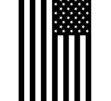 American Flag, mourning,  in Black, Stars & Stripes, USA, America, Americana, Portrait, Black on White by TOM HILL - Designer