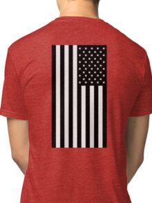 American Flag, mourning, in Black, Stars & Stripes, USA, America, Americana, Portrait, Black on White Tri-blend T-Shirt