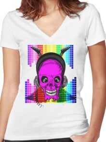 Skulls, Guitars and Rock and Roll! Women's Fitted V-Neck T-Shirt