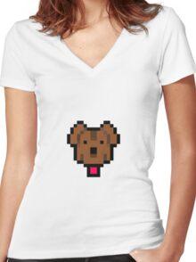 Lucas' dog shirt. Women's Fitted V-Neck T-Shirt