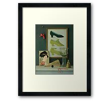 Still life with a coral beads Framed Print