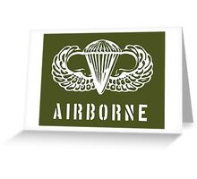 US airborne parawings - white Greeting Card