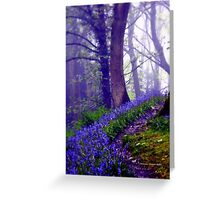 Bluebells in the Forest Rain Greeting Card