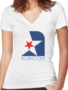 Wipeout - Aurocom logo Women's Fitted V-Neck T-Shirt