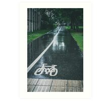 Rain on Cycle path Art Print