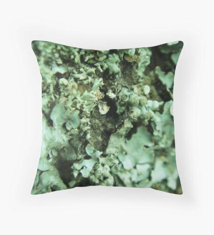 Green Lichen Abstract Throw Pillow