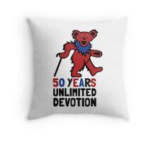 Grateful Dead 50th Anniversary - Dancing Bear - Unlimited Devotion Throw Pillow