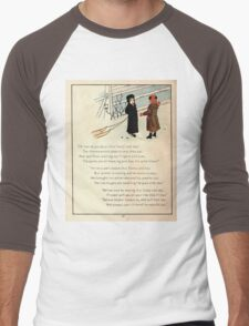 The Glad Year Round for Boys and Girls by Almira George Plympton and Kate Greenaway 1882 0052 Freezing Wind Blows Men's Baseball ¾ T-Shirt