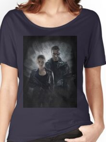 Terminator Genisys Sarah Connor & T-800 Guardian Design Women's Relaxed Fit T-Shirt
