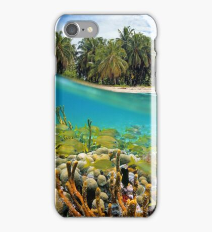 Coral reef fish underwater and coconut trees iPhone Case/Skin