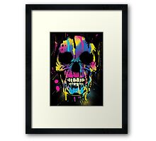 Cool Skull with Colorful Paint Drips and Splatters  Framed Print